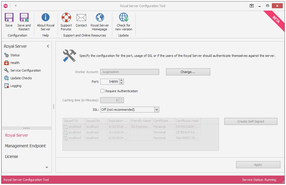 Basic Royal Server configuration : Royal Applications